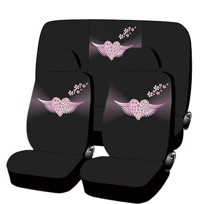NEW ANGEL HEART DESIGN MICROFIBER SEAT COVERS & STEERING 11PC SET FOR CARS 3801