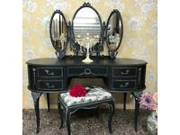 Refurbished dressing table with stool & triple mirror Olympus Furniture black colour glamour