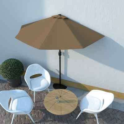 vidaXL Balcony Parasol with Aluminium Pole Taupe 270x135cm Half Patio Umbrella