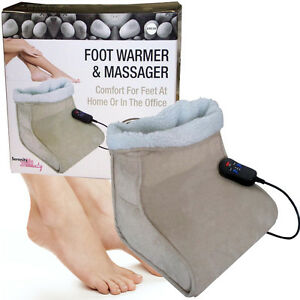 BEIGE-FOOT-WARMER-HEATED-COMFORT-FLEECE-SUEDE-COMFY-MASSAGER-SERENITY-BEAUTY