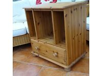 Hand Made Solid Pine TV Stereo Hi-Fi Computer Games cabinet with Storage Draw