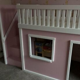 High Sleeper With Playhouse and Stairs