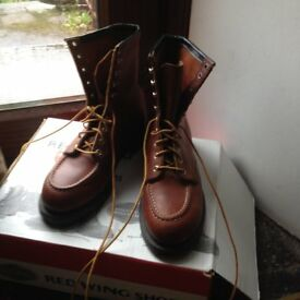 REDWING MENS BOOTS SIZE 7, BOXED, brown, leather