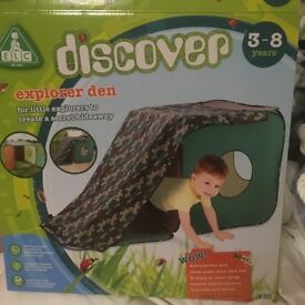 ELC CAMO EXPLORER DEN. 3-8 YEARS. BRAND NEW & BOXED. COST £30