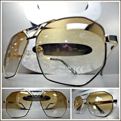 7551f829696d2 Men s Classic Vintage Luxury Hip Hop RETRO Style SUN GLASSES Gold   Black  Frame
