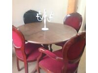 French style chairs 2x carver chairs 2x French style chairs and round table