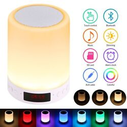 Bluetooth Speaker Lamp Smart Touch Sensor Night Light with Alarm Clock FM Radio