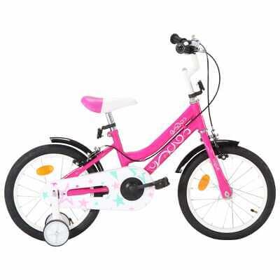 vidaXL Bicicleta para Niños 16 Pulgadas Negro y Rosa Juegos Bici Infantil