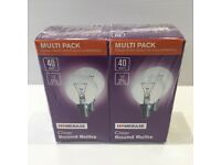 Homebase 40 watt screw cap e14 clear round bulb double pack new in packaging