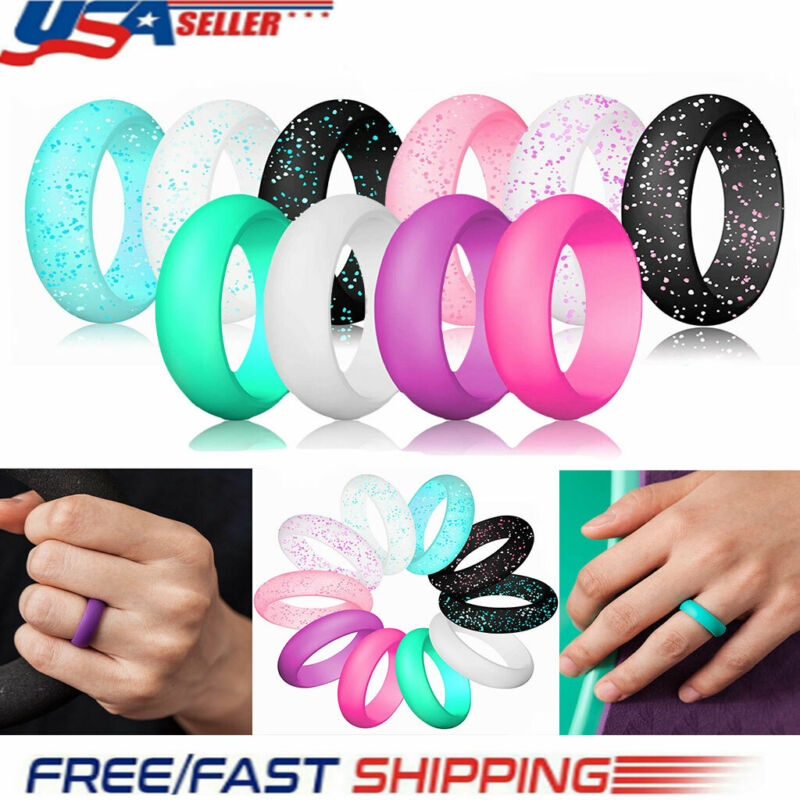 10 Pcs/set Silicone Wedding Ring Modern Rubber Band Durable Size 5 6 7 8 9 Usa