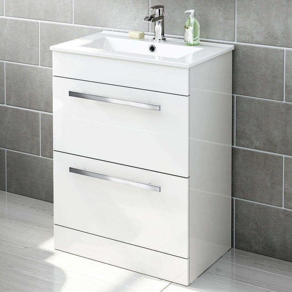 Modern Bathroom Vanity Unit Storage Cabinet Gloss White (+optional ...