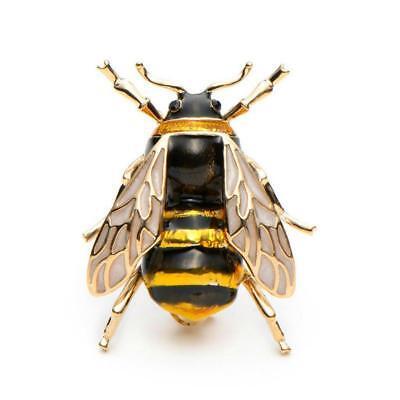 "CUTE HONEY BEE PIN 1.3"" Gold Black Yellow Enamel Flying Insect Brooch Rhinestone"