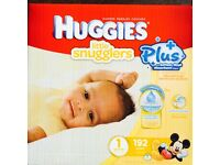 Jumbo pack huggies diapers size plus 1 (192 diapers )