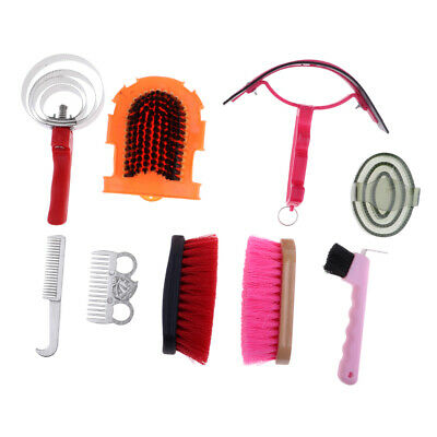 9pcs Horse Care Grooming Equipment Equestrian Kit Sweat Scraper Brush -