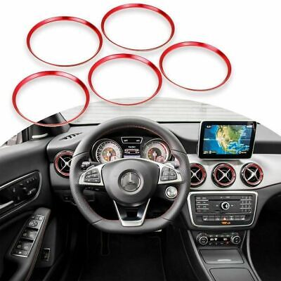 5x Red Air Vent Outlet Ring Cover Trim Fit For Mercedes Benz CLA GLA180 200 250
