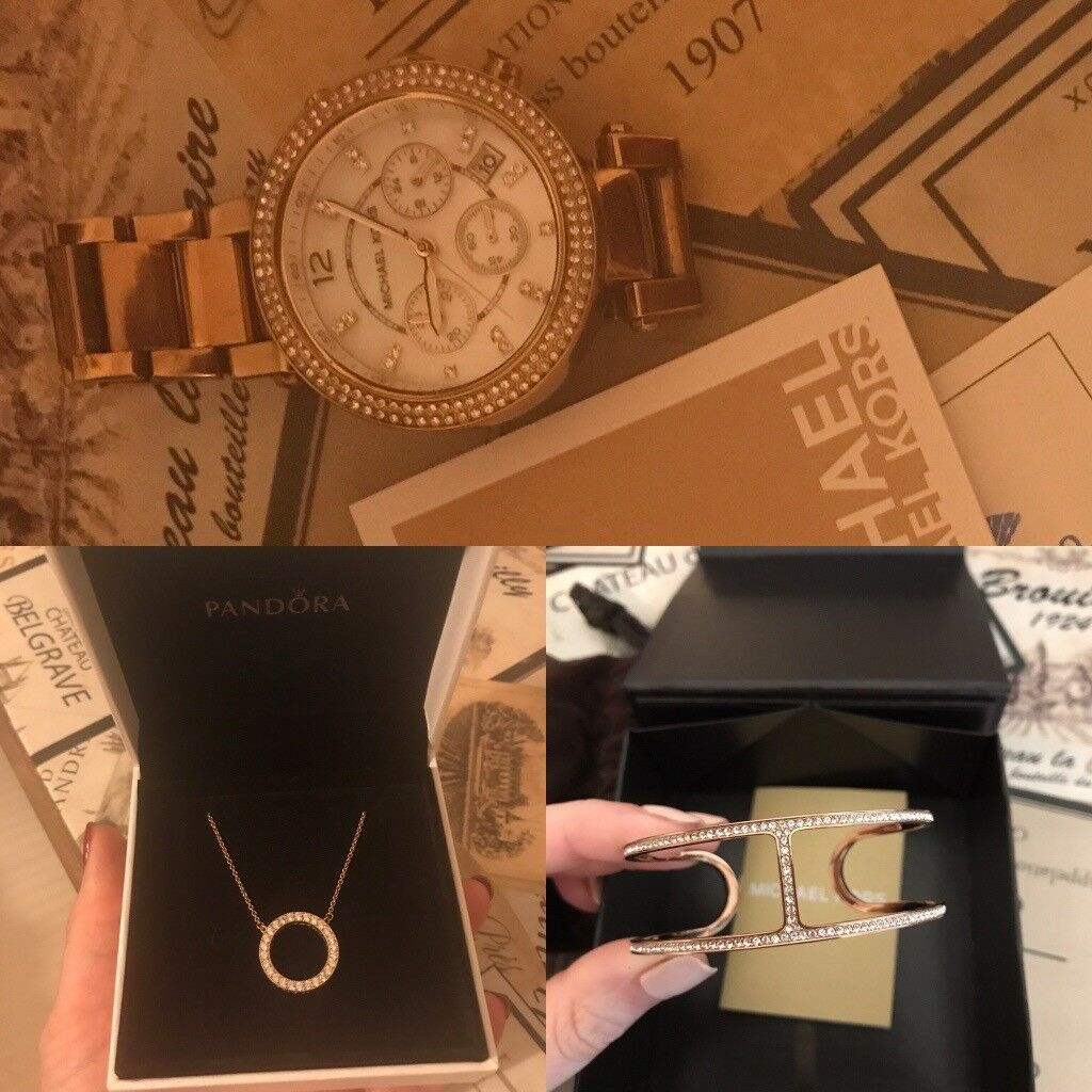 Michael Kors Watch/bangle/bracelet and Pandora Necklace