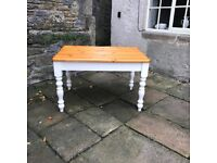 Solid Pine Dining Table with Painted Legs