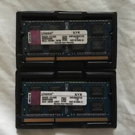 2 X Kingston RAM 2GB DDR3 PC3-8500 204-Pin 1066MHz Laptop & Apple compatible
