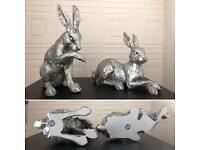 2 x Sliver hare / rabbit ornaments. Countryside animal decoration.
