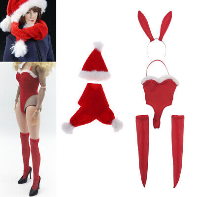 Santa Suit Female (1/6 Female Bunny Suits Stocking Santa Hat Scarf Outfits for 12'' Hot)