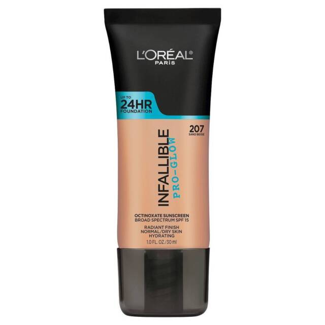 LOREAL Infallible Pro Glow Foundation Sand Beige 207 NEW 24hr normal dry skin