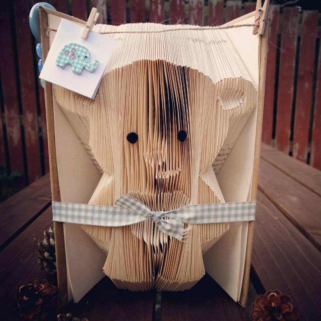 Teddy bear bookfold, baby ,boy, girl, christening, newborn, nursery decor, home, birthday, xmas gift