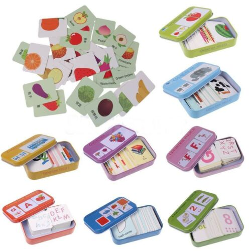 Baby Kids Cognition Puzzle Toys Toddler Iron Box Cards Match