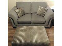 2 Seater Sofa, Chair & Footstool. Grey fabric