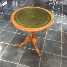Solid Wood Round Side Table / Occasional /Lamp Table With Inlaid Leather Top / Shabby Chic / REDUCED