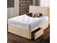 Stone Suede Divan Bed & Mattress With Free Headboard FREE NATIONWIDE DELIVERY