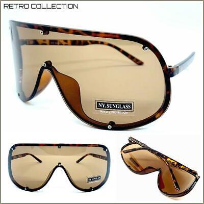 Übergröße Retro Gesicht Shield Visier Sonnenbrillen Riesig Groß XL Braune Gläser