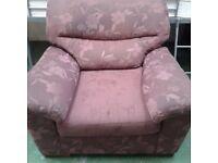 Purple floral armchair