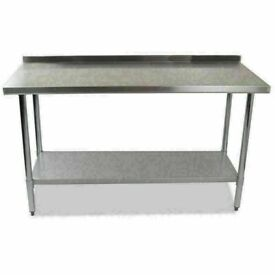Stainless Steel Commercial Catering Table Work Bench Kitchen Worktop Back splash (1200)