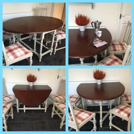 Up cycled extending dining table and 4 chairs.