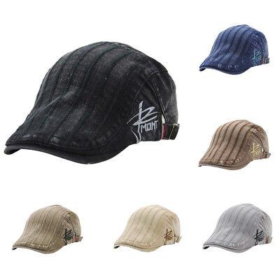 Cotton Stripe Washed Beret Hat Buckle Adjustable Paper Boy Newsboy Cabbie Cap