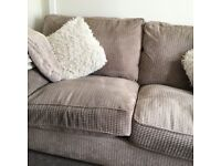 Beige large 2 seater sofa and chair