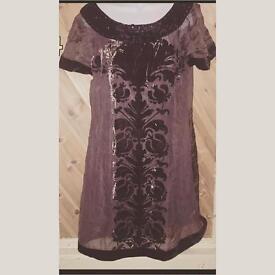 Brown and velvet tunic dress