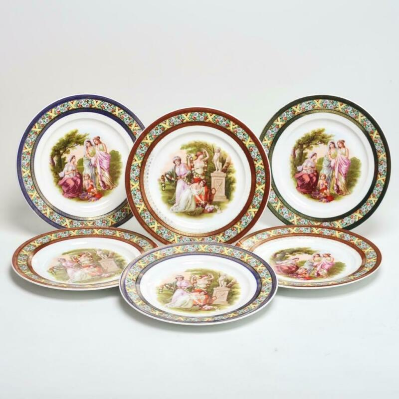 SET OF SIX (6) ROYAL VIENNA CZECH NEOCLASSICAL SCENE DINNER PLATES