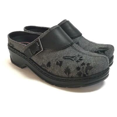 NEW Klogs Austin Women 9 M Open Back Clogs Gray Flannel Tapestry Embroidered