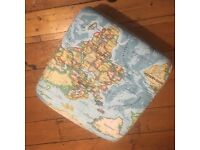 Map design brand new foot stool with roller casters