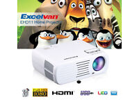 BRAND NEW,Excelvan 2600 Lumens Home Portable Mini LED HD Projector Support 1080P 3D