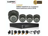 2MP VariFocal Black Dome Cameras and 4CH DVR kit 1080p IR Weatherproof CCTV system with 1TB HDD