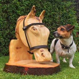 Horse Head Chainsaw Carving - Solid Wood Garden Feature