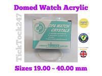 Domed acrylic watch glass sizez 19-40mm