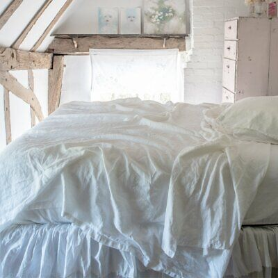 $158 Rachel Ashwell Couture ANGLE WHITE LINEN Cal/Western King Fitted Sheet NWT ()