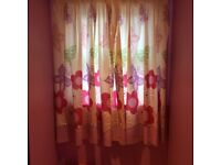 Girls Pink bedding and curtains