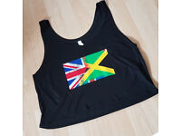 Womens Cropped Tank Top UK & Jamaica Flag Brnd New