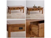 SOLID OAK COFFEE TABLE AND TV UNIT
