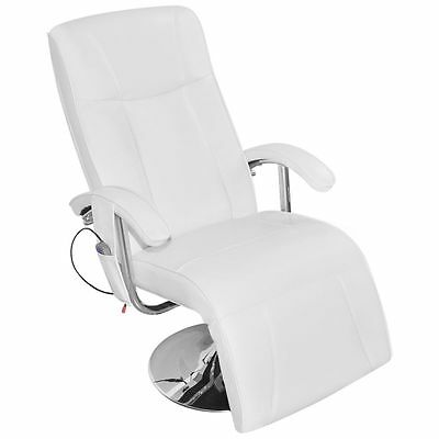 White Faux Leather Massage Chair TV Gaming Recliner Facial Beauty Chair Relax