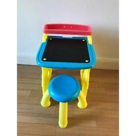 Kids plastic table and stool